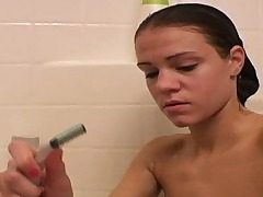 Super-cute Ally taking bathroom and shaving