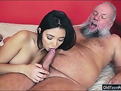 Brazilian Frida Sante loves to deep-throat and rail on an old man-meat