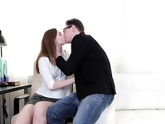 Pretty teenage Ariadna gets assfuck at the office