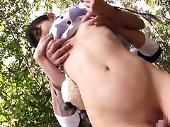 asian lil' teenager student touched tucked outside