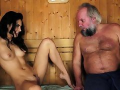 Latina spunked by old dude