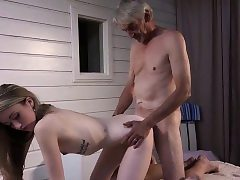 Thin Teenage Massage has fuck-a-thon with grandpa and gargles spear