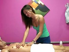 Prosperous customer gets a peculiar treatment in a rubdown session