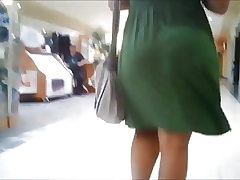 Hottest Sugary-sweet Bouncy Butt Phat ass white girl in Green Dress