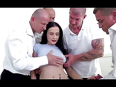 Bratty stepdaughter double penetration gangbanged by dad and all his friends