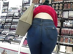 Candid big backside teen in tight denim & shoes