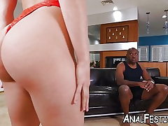 Succubus Abella Danger blows before multiracial anal
