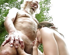 70 year elderly grandfather fucks 18 year elderly girl moans and excited