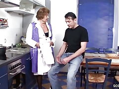German Vintage Grandma Tempt to Fuck by Youthfull Guy in Kitchen