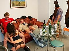 Impressively steaming college ladies intercourse in the kitchen