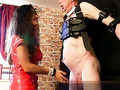 Molten babe in her red leather dress ready to abuse his hard dick