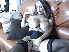Hot milf with enormous bra-stuffers blowing a immense fat donger deep throat