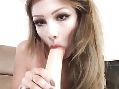 First-timer girlfriend rails her anal crevice on a big lengthy fake penis
