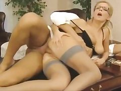 Horny secretary gets her pussy fuck hole pounded on the office table