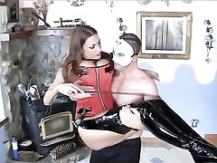 Super-fucking-hot bitch clad extremely sexy about to have sex with this fellow dressed in a mask