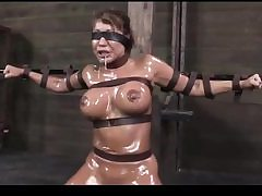 Crazy mega-bitch gets taut up and coated in oil about to get sexually manhandled