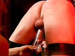 Horny blond dominatrix abusing an older guy boinking his ass hole