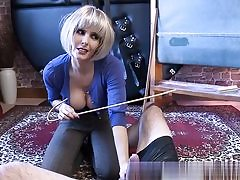Insatiable school domina is abusing his huge erect man sausage on porno