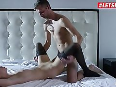 Bony dark-haired on th bed poked from behind